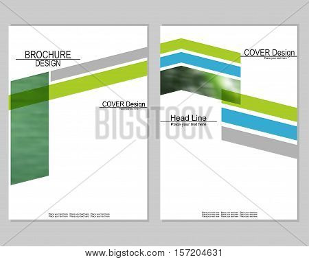 Vector brochure cover templates with blurred plants. Business brochure cover design. EPS 10. Mesh background.