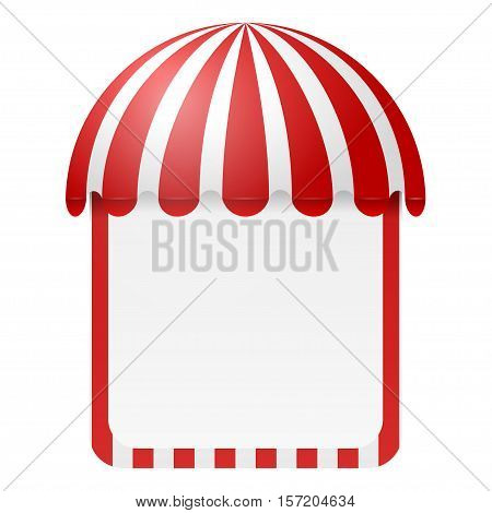 Striped awning with space for text isolated on white background