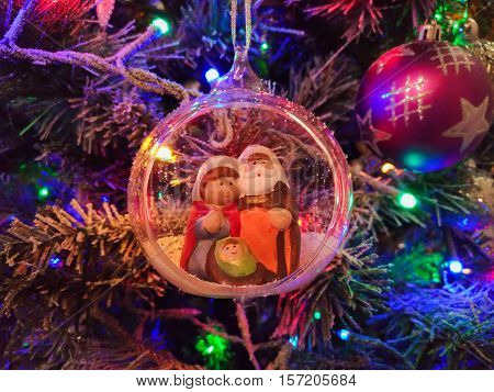 Photo of Christmas ball with nativity scene