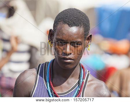 Boy From Ari Tribe At Village Market. Bonata. Omo Valley. Ethiopia.