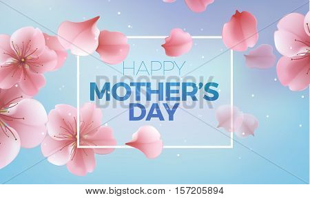 elegant soft pink color cherry flowers vector sakura blue background for Happy Mother Day card
