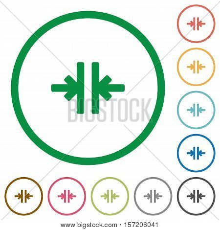 Vertical merge flat color icons in round outlines