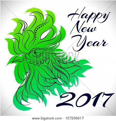 NewYear bird symbol of 2017 year, Head of Rooster - Chinese bird zodiac animal sign, vector illustration.Green Rooster oriental bird - Chinese zodiac year symbol of 2017, chinese NewYear celebration.