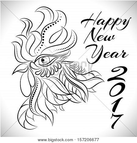 NewYear bird symbol of 2017 year, Head of Rooster - Chinese bird zodiac animal sign, vector illustration.White Rooster oriental bird - Chinese zodiac year symbol of 2017, chinese NewYear celebration.