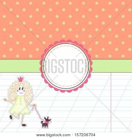 Vector card. Princess for a walk with her dog. Background with colored flowers and sheet into the diagonal line. Decorative ribbon and frame for your text.