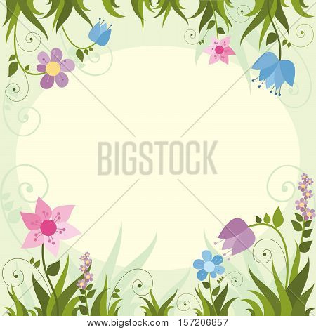 Invitation card  with  flower frame . Vector illustration.