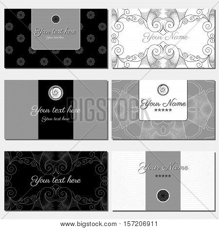 Set of six horizontal business cards. Abstract pattern. Black gray and white. Complied with the standard sizes.