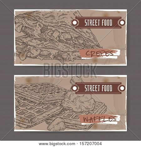 Set of two landscape banners crepes and with Liege waffles. French and Belgian cuisine. Street food series. Great for market, restaurant, cafe, food label design.