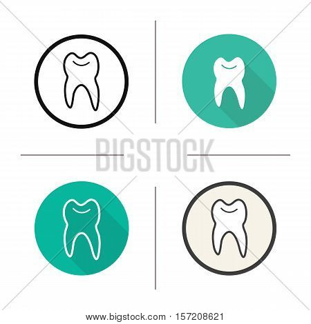 Tooth icon. Flat design, linear and color styles. Stomatologist and dentist sign. Isolated vector illustrations