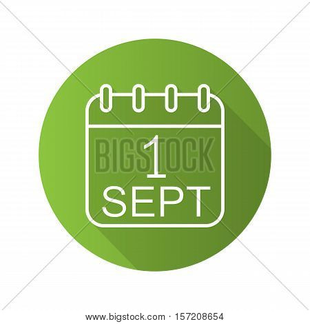 September 1st calendar green icon. Flat linear long shadow symbol. Knowledge Day. Vector line symbol