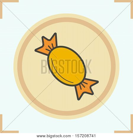 Candy color icon. Wrapped sweet caramel. Isolated vector illustration