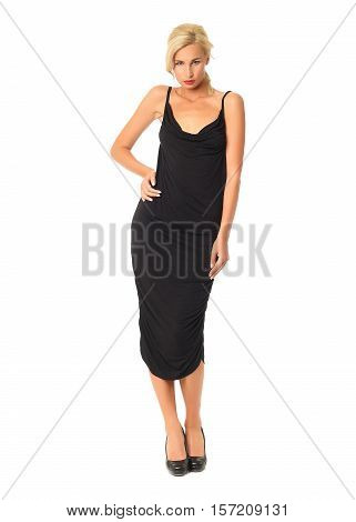 Full Length Of Flirtatious Woman In Black Dress Isolated On White