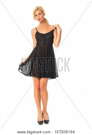 Full Length Of Flirtatious Woman In Transparent Dress Isolated On White