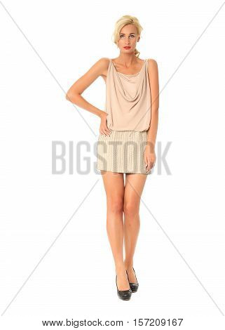 Portrait Of Flirtatious Woman In Disco Dress Isolated On White