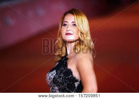 Rome Italy - October 16 2016: Maria Teresa Merlino walks a red carpet for 'The Rolling Stone Ole' Ole' Ole'!: A trip Across Latin America' during the 11th Rome Film Festival.