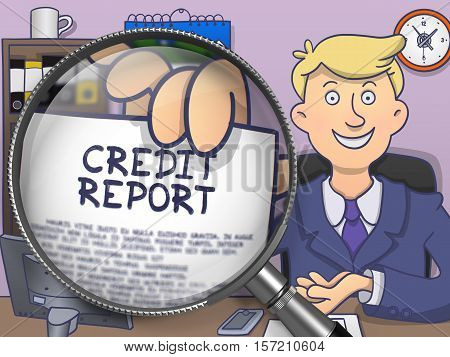 Credit Report on Paper in Man's Hand through Lens to Illustrate a Business Concept. Multicolor Doodle Style Illustration.