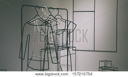 Metal shapes metal composition white background  grey background