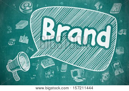 Business Concept. Mouthpiece with Text Brand. Doodle Illustration on Blue Chalkboard. Speech Bubble with Text Brand Doodle. Illustration on Blue Chalkboard. Advertising Concept.