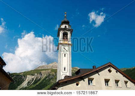Evangelical Reformed Church in Samedan small town in Engadine Switzerland Europe