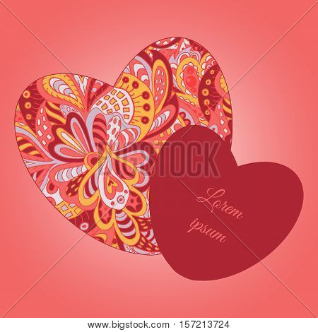 floral doodle ethnic pattern hearts frame rosy and yellow for inscriptions. Cards. Valentine's Day