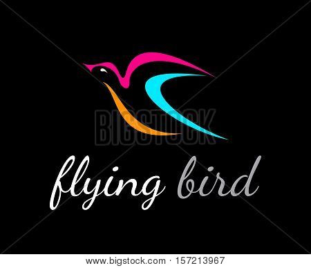 Flying bird vectoricon isolated on a black background. Can be used as a logo.