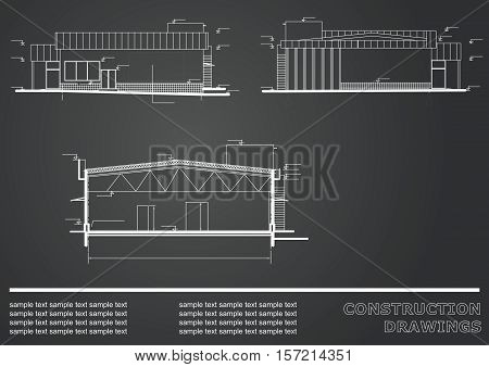 Construction drawings. Engineering illustration. Engineering Vector background