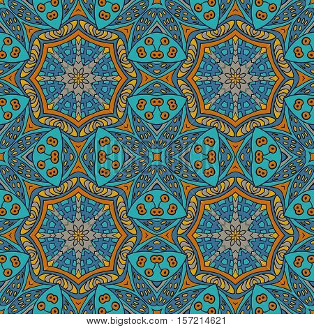 Seamless pattern doodle ornament. Colorful background. Ethnic motives. Zentangl. Mustard and Blue