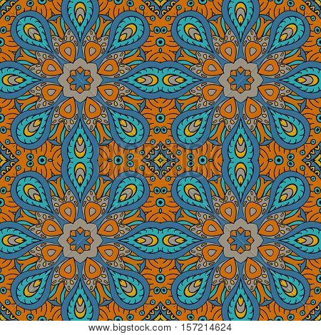 Seamless pattern doodle ornament. Colorful background. Ethnic motives. Zentangl. Mustard and blue tones