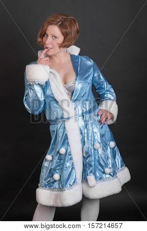 Portrait of a sensual girl in suit Snow Maiden