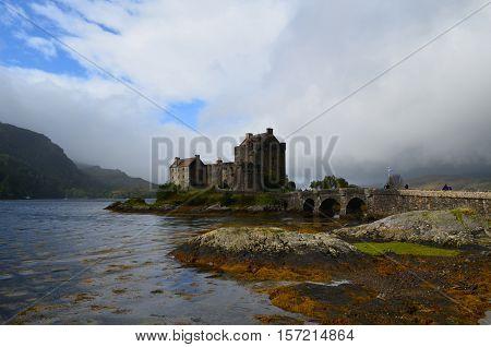 Eilean Donan Castle with Loch Duich surrounding it.