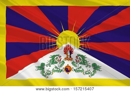 Flag of Tibet Autonomous Region (TAR) or Xizang Autonomous Region called Tibet or Xizang for short is a province-level autonomous region of the People's Republic of China (PRC). 3d illustration