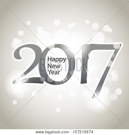 Sparkling Silver Grey New Year Card, Cover or Background Design Template - 2017