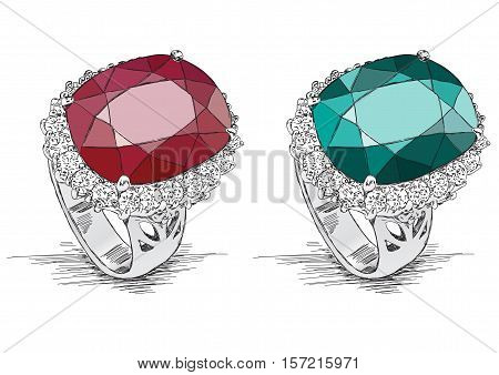 Diamond Ring Jewelry Illustration Doodle - Vector
