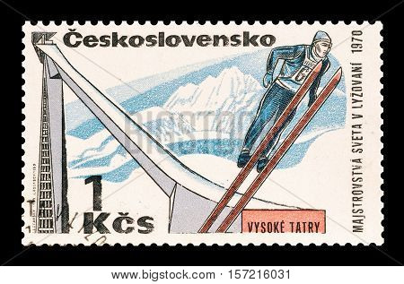 CZECHOSLOVAKIA - STAMP 1970 : Cancelled postage stamp printed by Czechoslovakia, that shows Ski jump.
