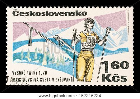 CZECHOSLOVAKIA - STAMP 1970 : Cancelled postage stamp printed by Czechoslovakia, that shows Woman skier.