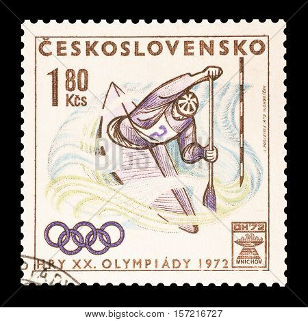 CZECHOSLOVAKIA - STAMP 1972 : Cancelled postage stamp printed by Czechoslovakia, that shows Canoeing.
