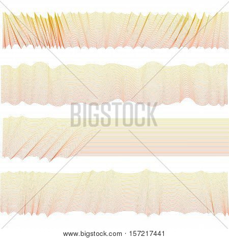 Isolated abstract pink color wavy stripes bacground. Unusual draped textile surface. Curvy horizontal backdrop pattern