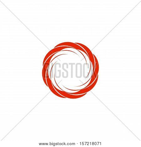 Isolated abstract red color circular sun logo. Round shape logotype. Swirl, tornado and hurricane icon. Spining hypnotic spiral sign. Photo lens symbol. Vector wheel illustration