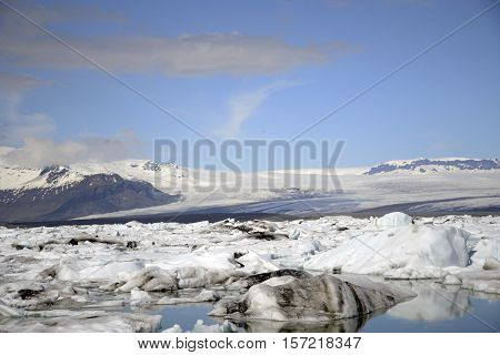 Iceland glacier lake Jokulsarlon glacial lagoon nature with snow landscape Vatnajokull