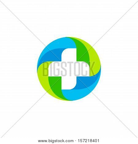 Green and blue vector medical cross logo. Round shape logotype. Religious sign. Doctor s office emblem. Ambulance label. First aid symbol. Plus button. Vector illustration