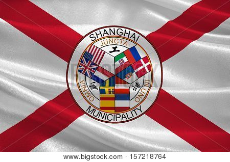 Flag of Shanghai is the most populous city in China. 3d illustration
