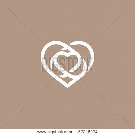 Isolated white abstract monoline heart logo. Love logotypes. St. Valentines day icon. Wedding symbol. Amour sign. Cardiology emblem. Vector illustration