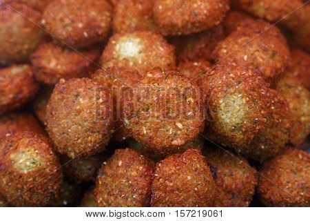 Traditional Falafels On Retail Market Display