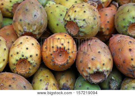 Opuntia Cactus Fruits Sale On Retail Market Stall