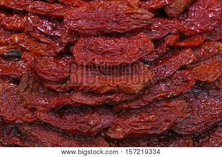 Sundried Red Tomatoes On Retail Food Market