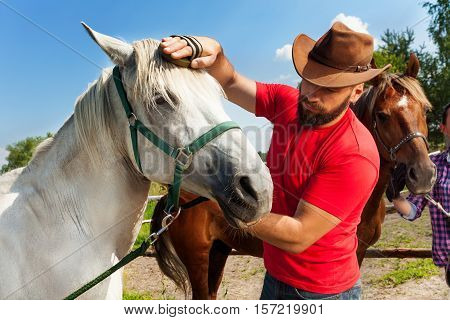 Young man in cowboy hat grooming the mane of his beautiful white horse at the farm