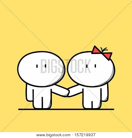 Cute man and woman couple, boy and girl holding hands on the yellow background. Date, love and relationships - cartoon vector illustration.