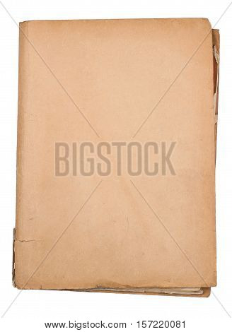 top view of closed brown and worn old paper document holder isolated on white