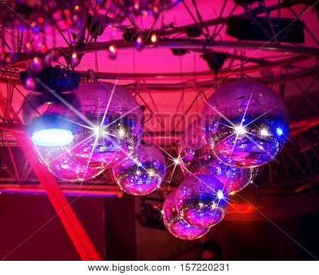 Group of Disco balls light reflection background