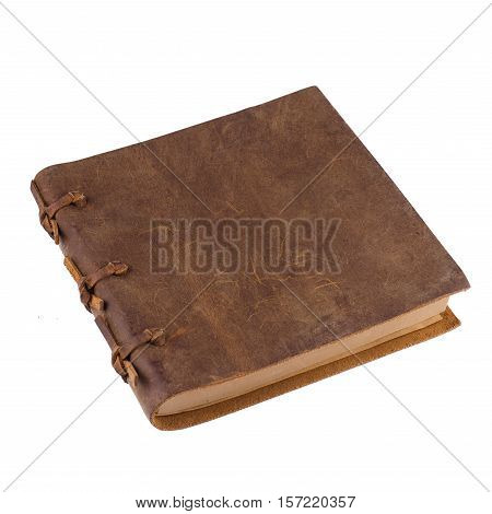 closed notebook with leather brown and bindings cover isolated on white background